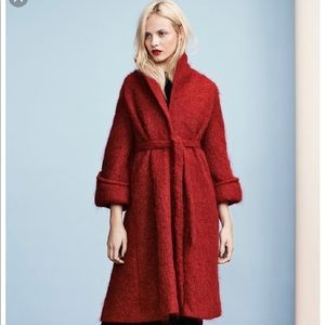 H&M red mohair coat size 8